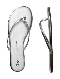 leather flip flops / gap  Because I just love silver sandals...