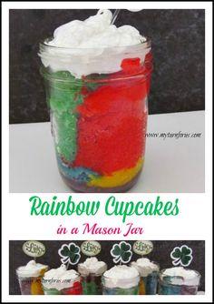 Rainbow Cupcakes baked in Mason Jars!   http://www.myturnforus.com/2014/02/rainbow-cupcakes-in-mason-jar.html