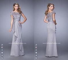 La Femme 21620   Lace Bodce  ~ Long Dress ~  Cap Sleeves ~ Criss Cross waitsband ~ Satin Skirt ~ Evening Dress