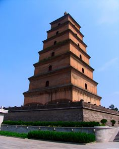 Big Wild Goose Pagoda (大雁塔) in Xi'an. Close by the pagoda is the Temple of Great Maternal Grace; Da Ci'en. This temple was originally built in 589 and then rebuilt 647 in memory of his mother Empress Wende by Li Zhi who later became the Tang Emperor Gaozong. The monk Xuanzang's statue stands in front of the temple area.