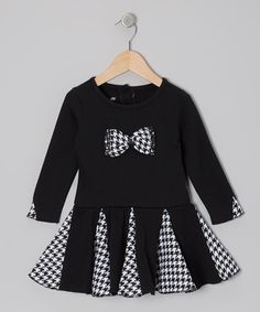 Take a look at this Black Houndstooth Bow Dress - Infant & Toddler by Nannette on #zulily today!