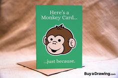 Who doesn't love a monkey card? Give someone one...just because. #greeting #greetingcard #anytime #justbecause #monkey #cartoon #drawing #illustration #ape #monkeys #apes #cartoonmonkey #monkeycard