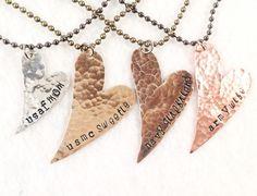 Military heart necklace. USMC army navy USAF uscg sweetie wife girlfriend mom. $25.00, via Etsy.