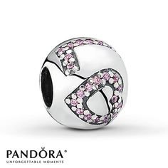 "This sterling silver charm from the 2014 Valentine's Day collection by Pandora spells the word ""Love"" in sparkling pink cubic zirconias. Style # 791196PCZ."