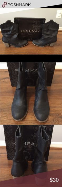 Casual Black Boots Fun black boots with small heel.  Great with skinny jeans or leggings! Rampage Shoes Heeled Boots