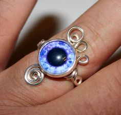 Adjustable Steampunk Wire Wrap Taxidermy Purple Human Eye Ring $20.00