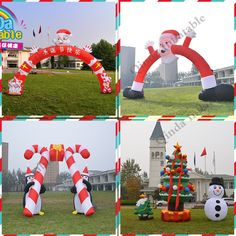 [ 10% Off ] Promotion outdoor customize inflatable santa claus christmas tree arch snowman deerlet car inflatable deer