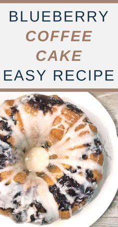 Blueberry Sour Cream Coffee Cake - Tasty Tuesdays at Creative K Kids - Kuchen Blueberry Desserts, Blueberry Breakfast, Breakfast Cake, Köstliche Desserts, Dessert Recipes, Blueberry Bundt Cake Recipes, Blueberry Sour Cream Cake, Breakfast Ideas, Breakfast Recipes