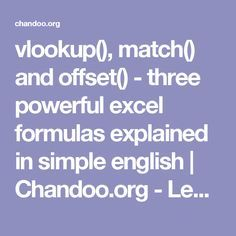 vlookup(), match() and offset() - three powerful excel formulas explained in simple english | Chandoo.org - Learn Microsoft Excel Online