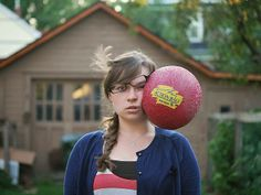 Stuff Being Thrown at My Head: A Series of Whimsical Self Portraits by Kaija Straumanis
