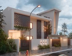 Tatweer Villa on Behance House Arch Design, Architect Design House, Temple Design For Home, 2 Storey House Design, Bungalow House Design, Facade Design, Partition Design, Modern Exterior House Designs, Modern House Facades