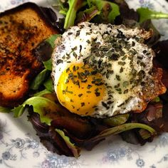 Spring salad with pickled vegetables and sunny side up egg - recipe