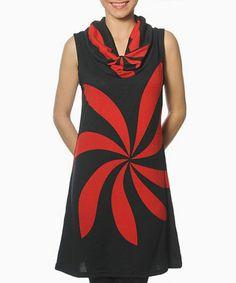 Black & Red Dorian Cowl Neck Dress