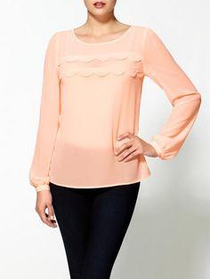 Pim Larkin Scalloped Chiffon Top | Clothing. Love!