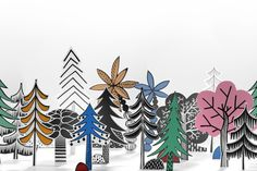 Discover the mystic of the Nordic forest, captured in this playful and colorful design. drawings of trees and plants have been cut out, arranged and photographed in to recreate the place that we heard belongs to little trolls. Wallpaper Decor, Modern Wallpaper, Designer Wallpaper, Scandinavian Wallpaper, Scandinavian Interior Design, Decoration, Art Decor, Rebel, Felt Tip Markers