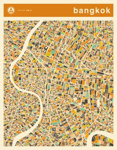 Poster | BANGKOK MAP von Jazzberry Blue | more posters at http://moreposter.de