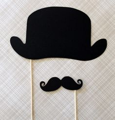 Derby Hat and Mustache on a Stick Set