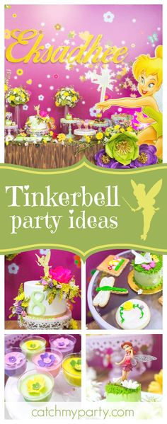Be enchanted by this gorgeous Tinkerbell birthday party. The birthday cake is so so pretty!! See more party ideas and share yours at CatchMyParty.com