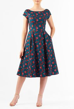 I <3 this Rose print boat neck cotton dress from eShakti