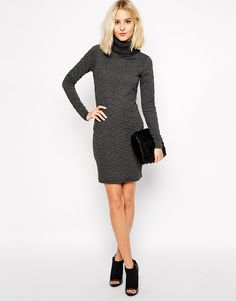 Image 4 of River Island Roll Neck Cable Jumper Dress