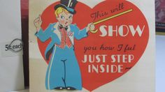 1930's valentines day card magician and pop out stage. 5X4