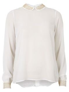STUDI COLLAR TOP B, WHITE