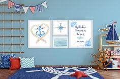 Set of 4 Nautical Nursery Wall Art PrintsPsalm Scripture