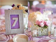 pretty purple framed table numbers, pretty rose and candlelit centerpieces, classic purple and gray wedding, Abby Grace Photography