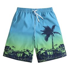 80655acece SULANG Men's Lightweight Quick Dry Island Party Graphic Board Shorts Medium  33-34. LindaStyle · Mens Swim Trunks