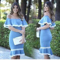 Off The Shoulder Dress, Blue&White