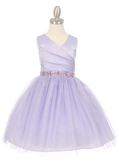 13c1b506b1 Lilac Pleated Satin Bodice with Tulle Girl Dress with Rhinestone Discount  Bridesmaid Dresses