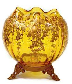 "Victorian Moser enameled bowl on gilt tripod base c.19th cen. measuring 5"" tall, 6.75"" including base"