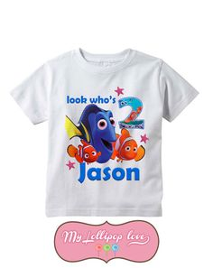 For the little fans of Finding Nemo! It features Nemo, Dori and Marlin along with your childs name and age. -Select sizes from the drop down menu.