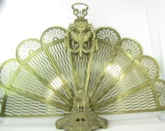 Vintage Brass Fireplace Screen, Shabby Chic Décor, Ornate Metal, Victorian