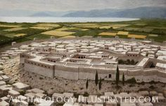 Reconstruction of Tiryns, ancient Mycenaean city in southern Greece by the Saronic Gulf as it would have appeared around 1300 BC.  Details on www.Archaeologyillustrated.com by Balage Balogh