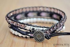 Black Leather Wrap Bracelet // Friendship Bracelet // by Gomeow