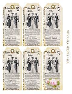Vintage style tags. free printables. #crafts #tags #printables