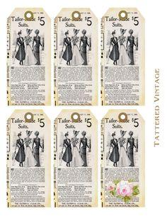 Vintage style tags. free printables. #crafts #tags #printables