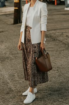 how To Style A Leopard Midi Skirt and white blazer. Ideas on how To Style A Leopard Midi Skirt and white blazer.on how To Style A Leopard Midi Skirt and white blazer. Ideas on how To Style A Leopard Midi Skirt and white blazer. Mode Outfits, Skirt Outfits, Fall Outfits, Casual Outfits, Skirt Ootd, Holiday Outfits, Fall Dresses, White Blazer Outfits, Leopard Blazer