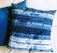 Recycled Denim Waistband Cushion from decoblue.