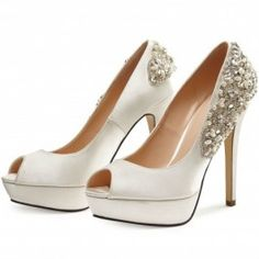 How about this shoe?  Share to get a coupon for all on FSJ White Rhinstone Embelishment Peep Toe Platform Stiletto Heel Wedding Shoes