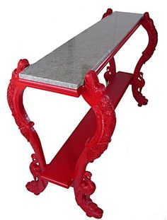 One of Kind Red Lacquer Console Table with Jade Green Marble