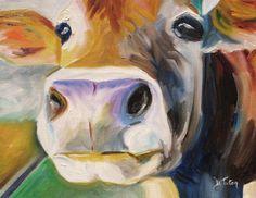 Curious Cow Painting  - Curious Cow Fine Art Print By Donna tuten  http://fineartamerica.com/art/all/donna+tuten/canvas+prints
