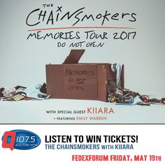@TheChainsmokers w/ Kiiara & ft. Emily Warren @FedExForum May 19th! Tickets ON SALE TODAY at 10am http://Q1075.com