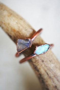 Raw Opal Ring | Set of two American-made brass rings featuring varying colors of raw Opal stones.