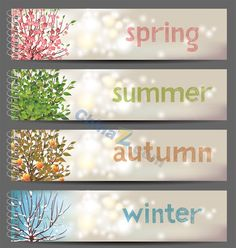 4 Seasons by mart_m 4 seasons horizontal banners. Eps 10 and Ai CS 3 included. Text is outlined vector shapes and thus is not editable. Four Seasons Image, Free Vector Images, Vector Free, Vector Graphics, Four Seasons Las Vegas, Winter Season, Fall Winter, Autumn, Nature Paper