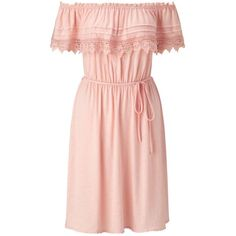 Miss Selfridge Nude Frill Bardot Dress ($26) ❤ liked on Polyvore featuring dresses, day dress, nude, nude dress, ruffle dress, flounce dress, frilly dresses and pink ruffle dress