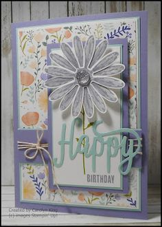 How pretty is the new Delightful Daisy Designer Series Paper. I love the fresh look of the colour scheme of Wisteria Wonder, Pool Party an...