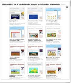 Más de 60 juegos, actividades interactivas y materiales didácticos para el aprendizaje de Matemáticas en 6º Nivel de Educación Primaria.
