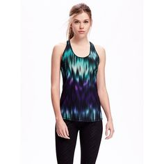 Old Navy Go Dry Racerback Tank For Women ($12) ❤ liked on Polyvore featuring activewear, activewear tops, night light, old navy e old navy activewear